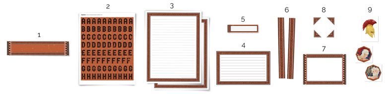 all of the types of pieces included in the Ancient Greece printable kit