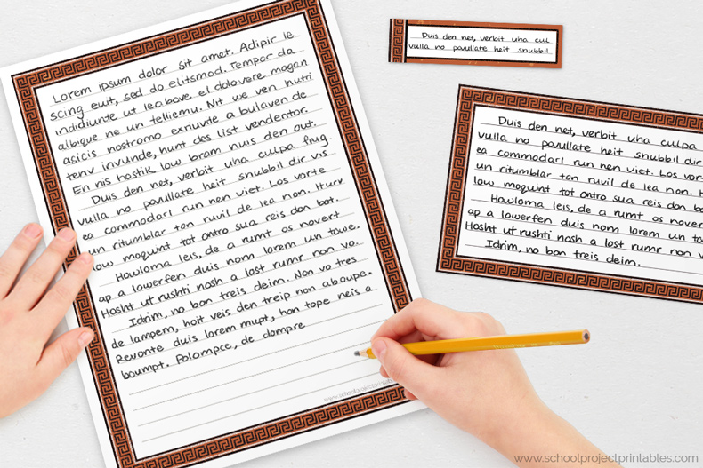 Roman column border writing templates for handwriting Ancient Greece projects
