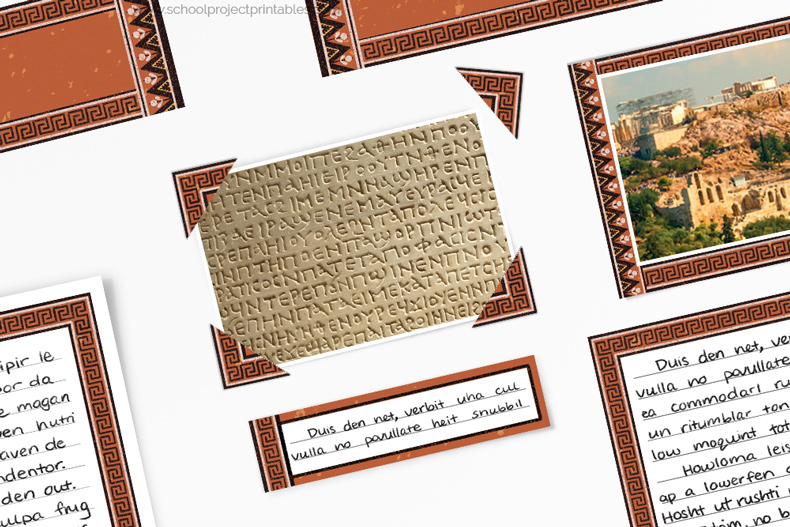How to use photo corners on a Ancient Greece project