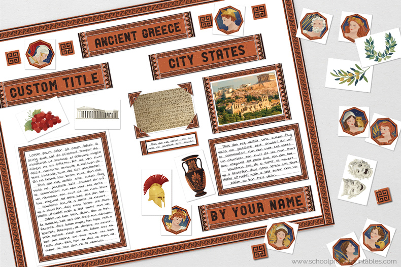 Printable clip art to decorating a Ancient Greece poster, includes icons, gods and goddesses