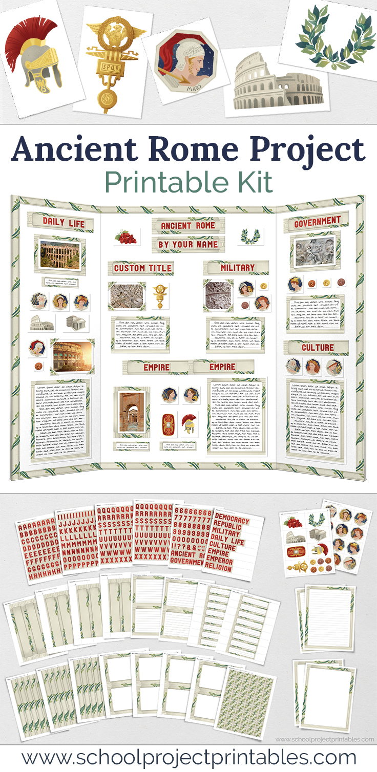 Printable Kit to make an Ancient Rome Report, multiple pages of Ancient Roman clip art to print