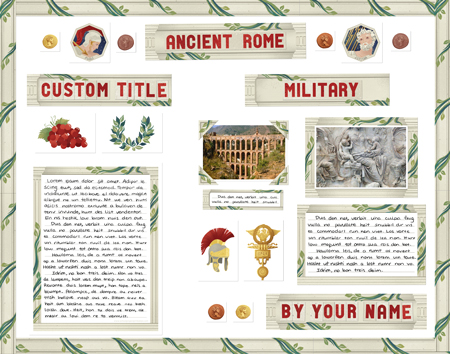 Finished Ancient Rome Report project poster board made from SchoolProjectPrintables.com kit