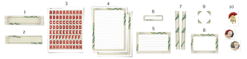 all of the types of pieces included in the Ancient Rome printable kit