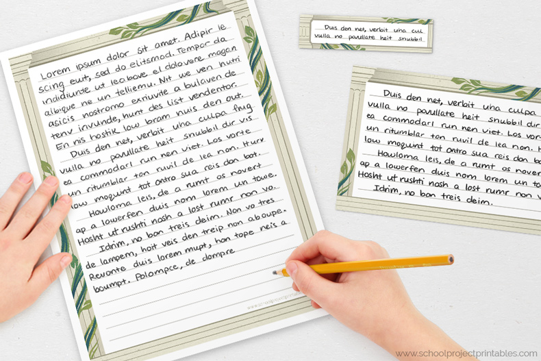 Roman column border writing templates for handwriting Ancient Rome projects