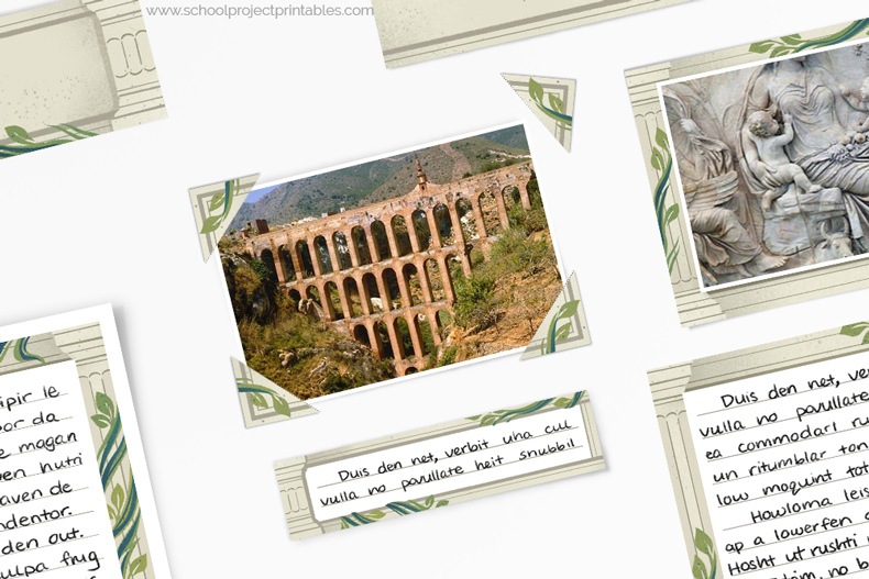 How to use photo corners on a Ancient Rome project