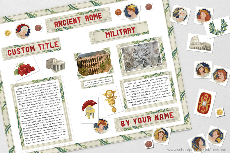 Printable clip art to decorating a Ancient Rome poster, includes icons, gods and goddesses