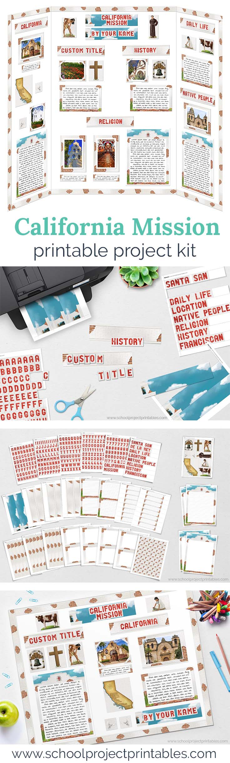 Long Pinterest Pin showing printable kit to make a poster board for a California Missions school project