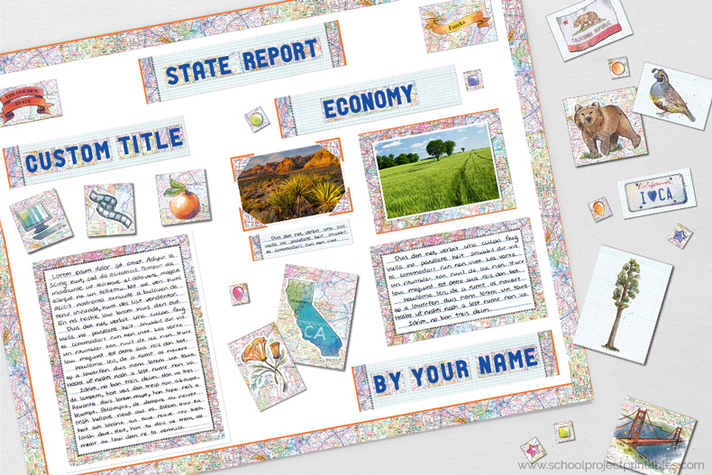 Printable clip art to decorating a State Report poster, includes objects, icons and people