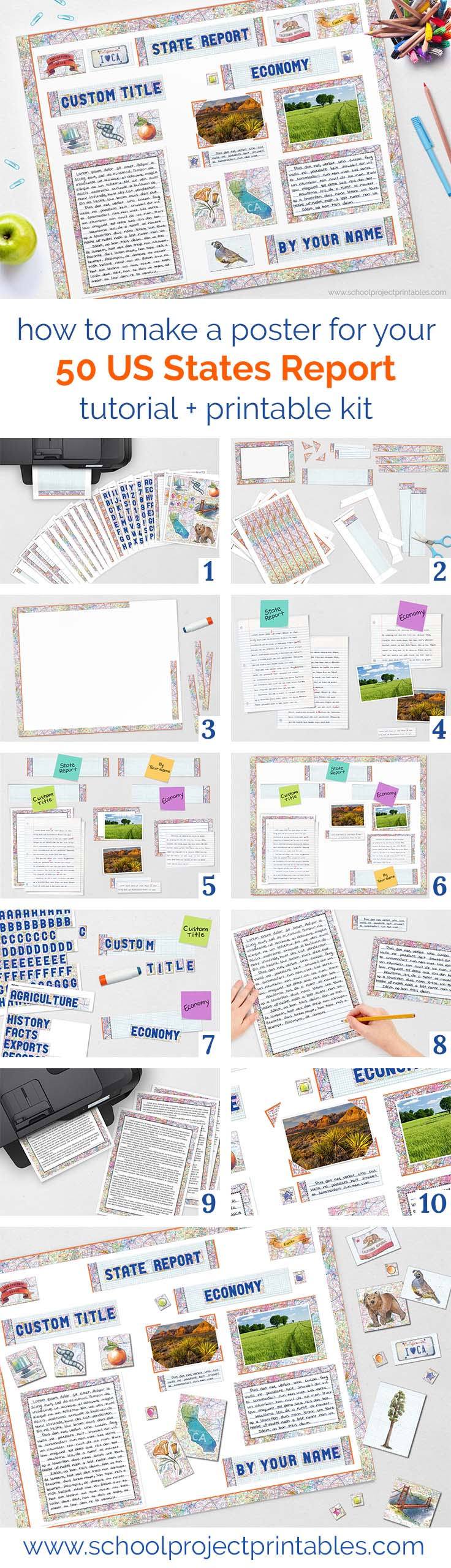 Step by step tutorial and printable kit for a school report on one of the 50 US States!