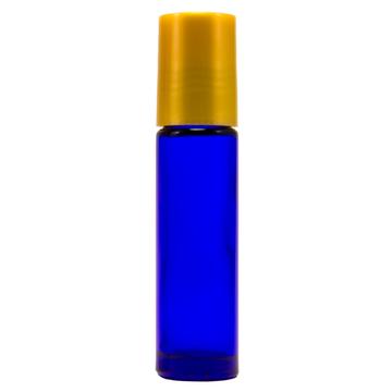 10 ml Cobalt Blue Roll On Glass Bottle w/ Gold Cap (Case of 144)