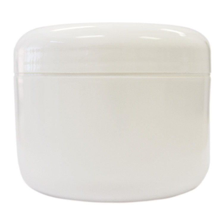 8 oz White Plastic Jar w/ Dome Lid
