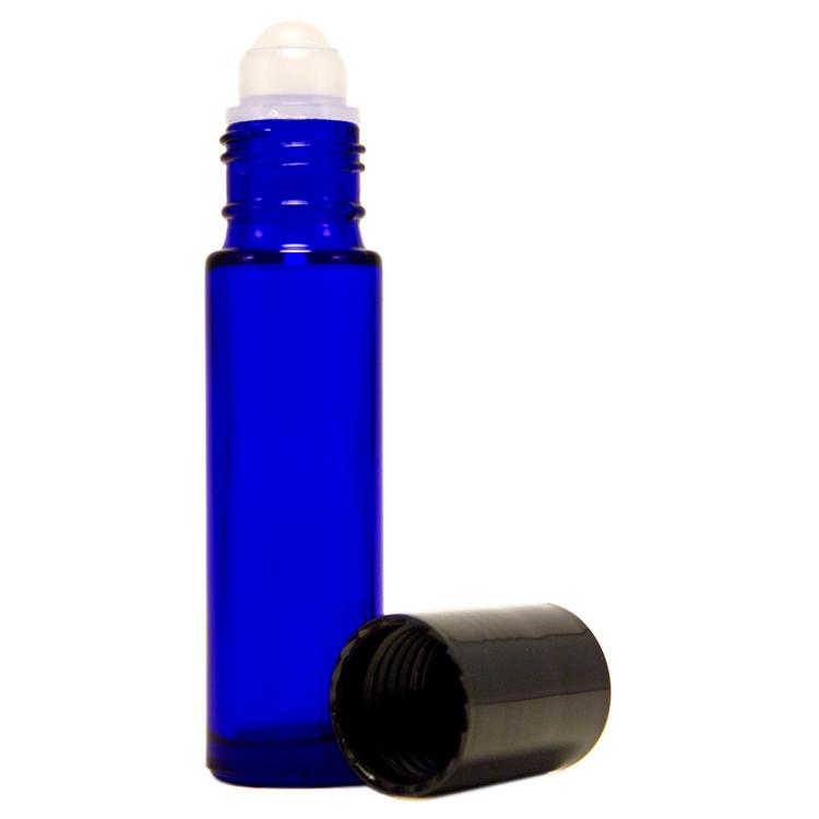 10 ml Cobalt Blue Roll On Glass Bottle w/ Black Cap (Case of 144)