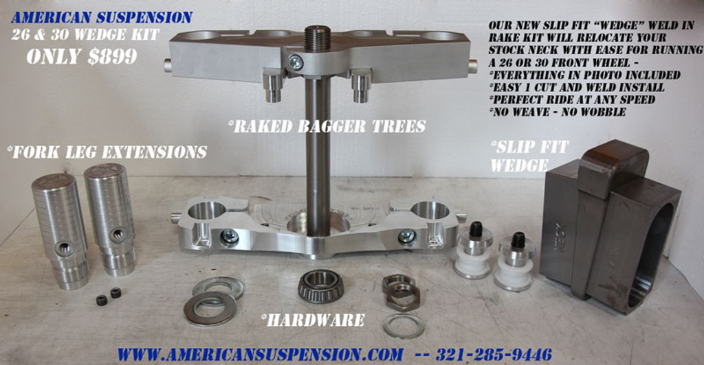 "30"" Wheel Easy Weld In WEDGE Kit for 2008 and below Harley-Davidson Touring"