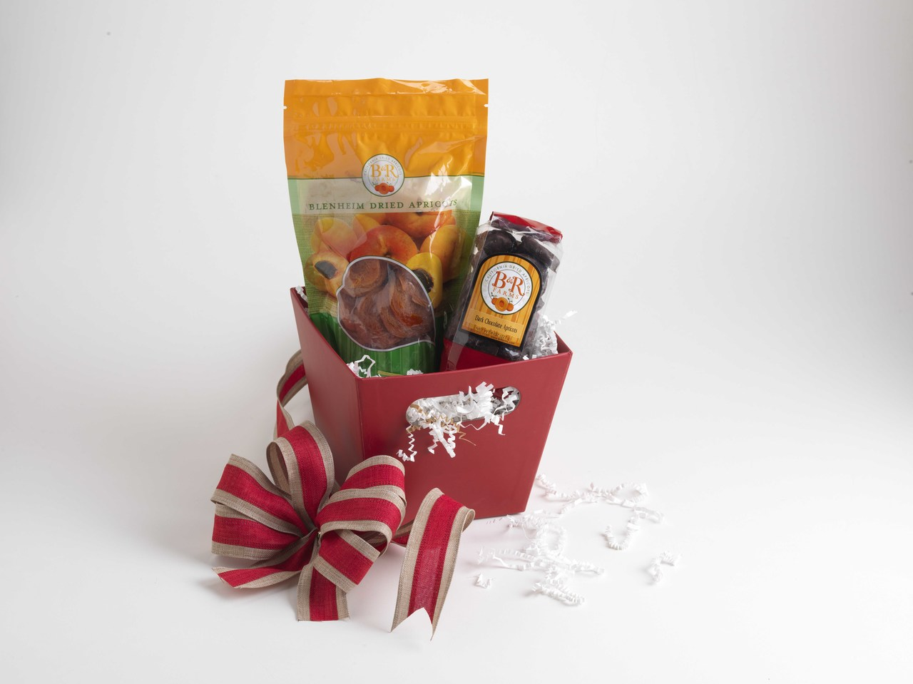 San Benito's Finest Basket- Dried Blenheim Apricots and Dark Chocolate Covered Apricot Nibbles