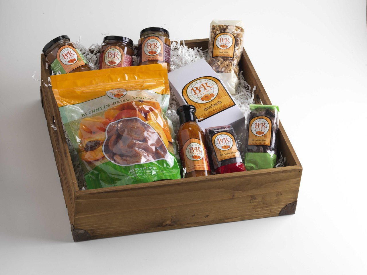 A Taste of Everything Basket- Dried Blenheim Apricots, Milk and Dark Chocolate Covered Apricot Nibbles, Dried Apricot Red Pepper Topping, Apricot Chutney, Preserves, Cinnamon Spread AND Chili Preserves and Dried Apricot Topping