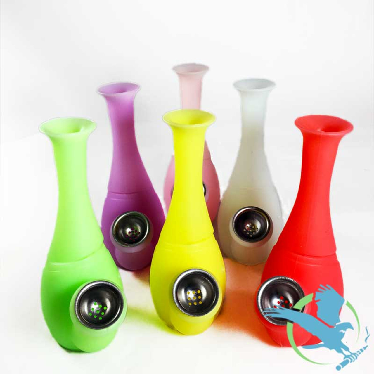 Silicone Mini Vase Water Pipe With Metal Bowl 6 Inches Msrp