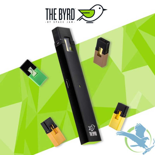 The Byrd 350mAh AIO Pod System Starter Kit By Space Jam With 4 Prefilled 0.85ML Salt Nicotine Pods
