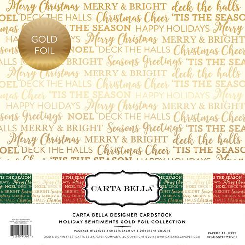 Holiday Sentiments Gold Foil