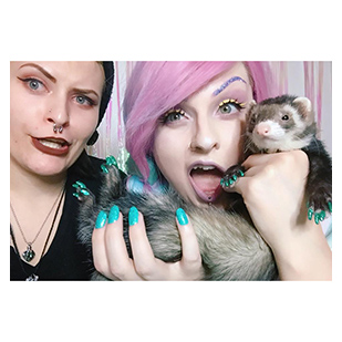 Majora The Ferret Purrdy Paws Hall Of Fame Seafoam Glitter Soft Nail Caps