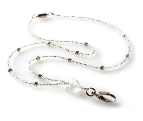 Silver Heart Beaded Lanyard