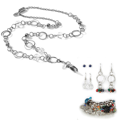 London Fashion Lanyard with Earrings & Bracelets, 8 pc set