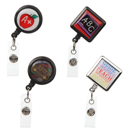 4-Pack Teacher Themed Badge Reels for ID and Keys
