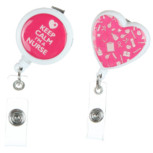 2-Pack Retractable Badge Reels for Nurses, Hold your ID and Keys