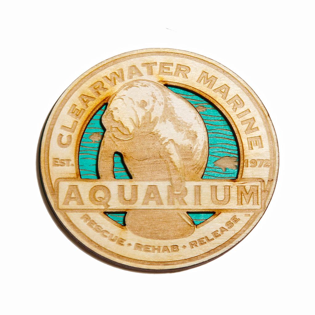 Clearwater Marine Aquarium Manatee Wooden Magnet