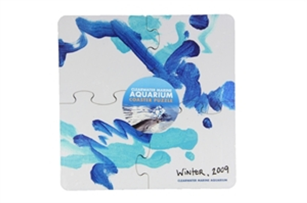 Winter the Dolphin's Ocean Blue 4-Piece Puzzle Coaster Set
