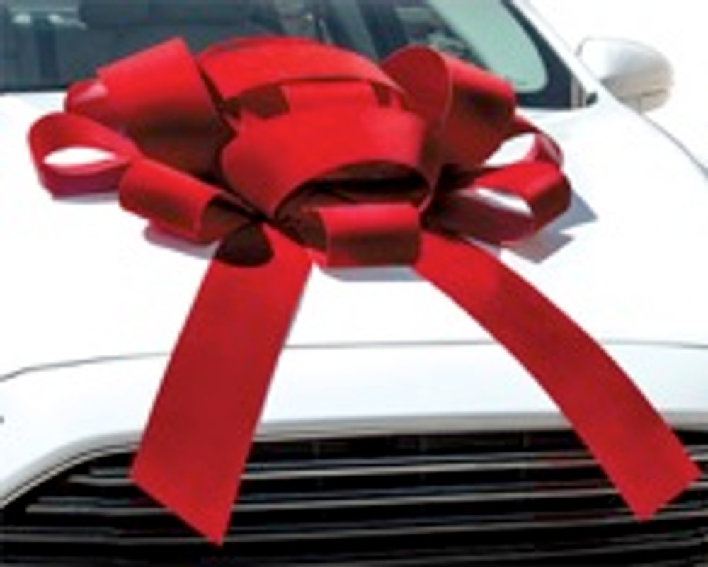 """Large 30"""" Structural Magnetic Car Bow with red velvet ribbon and 2 tails"""
