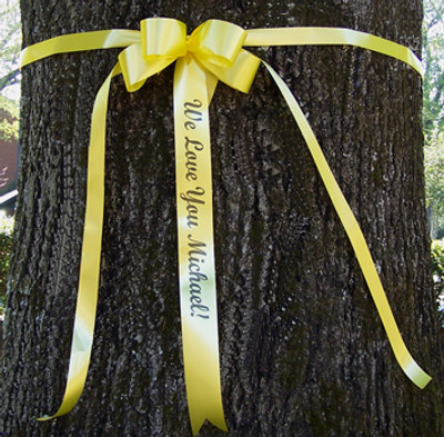 Yellow Support Our Troops Ribbons and Bows