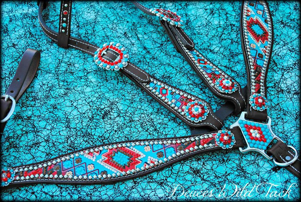 Chevron Aztec Set - Turquoise & Red