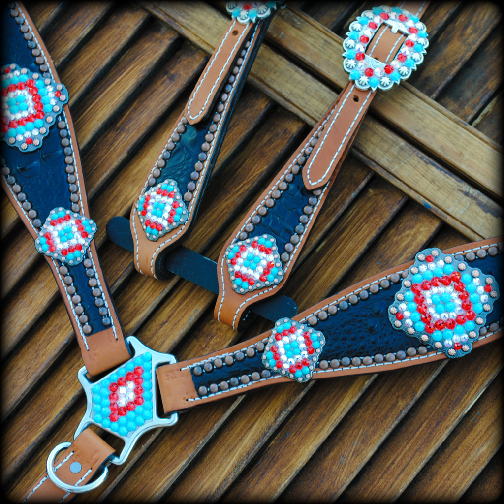 Aztec Concho Set with Turquoise & Red stones