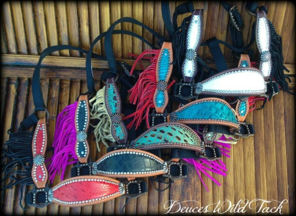 *PICK YOUR HIDE* Cheek Halter With Fringe & Plain Conchos