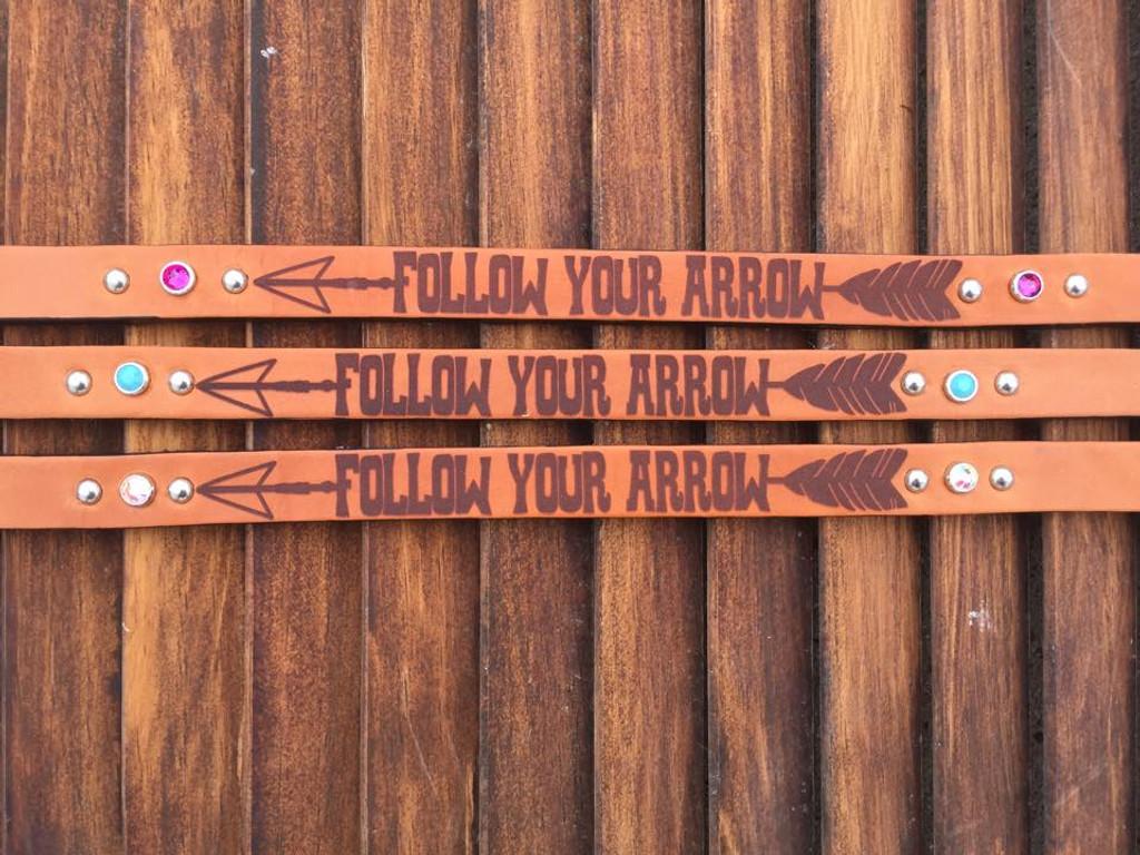 Follow Your Arrow Design. Swarovski rhinestones shown: Fuchsia (top), Turquoise (middle) and Crystal AB (bottom)