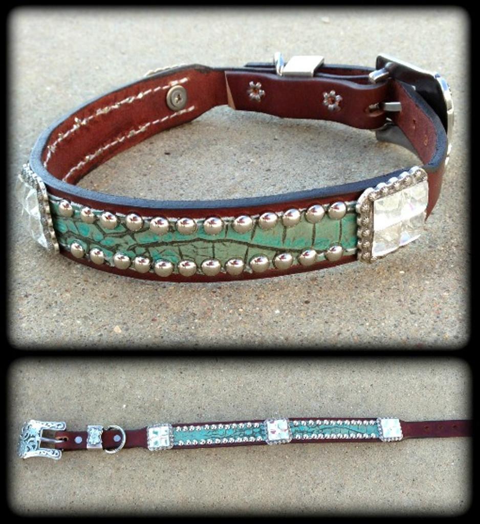 "Classic Hide & Bling Dog Collar 10-21"""