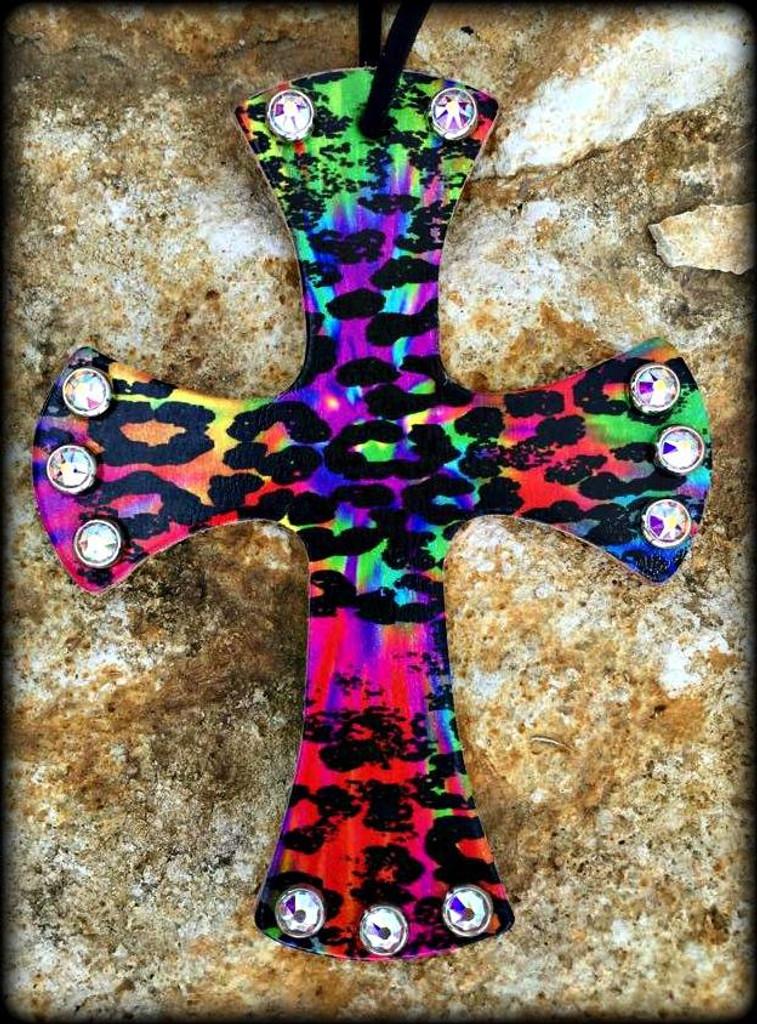 Tie Dye Cheetah Cross