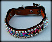 Sugar Skull Dog Collar 10-21""