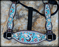 Turquoise & Brown Paisley Cheek Halter