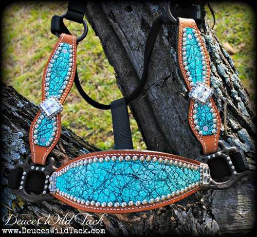 Turquoise Crackle Cheek Halter