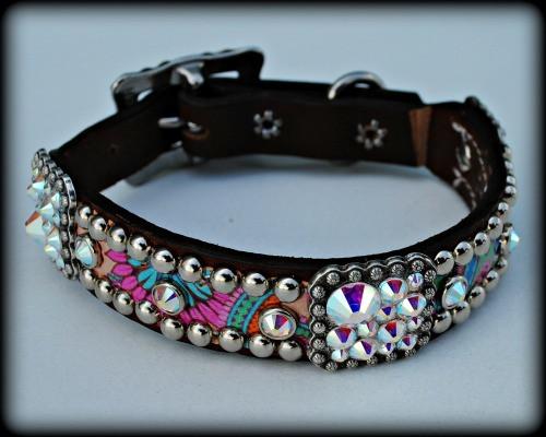 """Paisley Dog Collar 10-21"""""""
