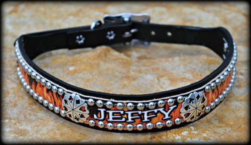 Flames Collar With Name 10-21""
