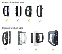 Door handles with single or double hooks that rotate out from the door handle body will work with the PatioLock system.