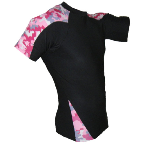 Pink Camouflage Short Sleeve Rash Guard