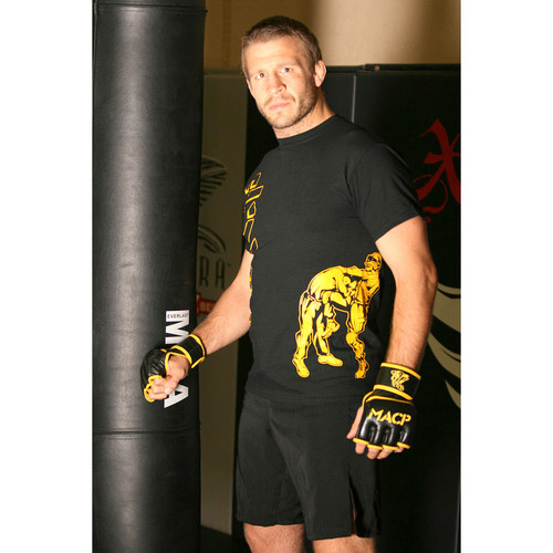 Black and Gold Moisture Wicking Fight Shirt -50/50 Cotton/Poly Blend