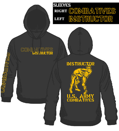 New Combatives Instructor Hoodie Black with Gold Ink