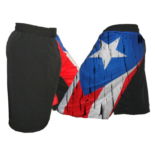 Distressed Puerto Rico Flag MMA Shorts - Side View