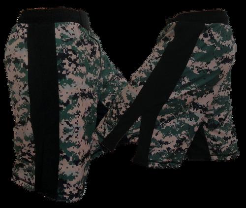 Blank MMA MARPAT w/ Black Stripe Digi Camo Fight Shorts