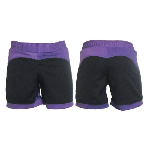 Black and Purple Female MMA Shorts
