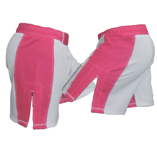 White and Pink Striped Female MMA Shorts